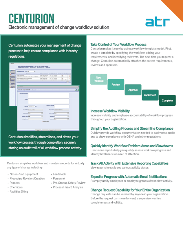 Centurion - Workflow Management System Data Sheet